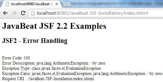 JSF 2 Error Page View Example 2