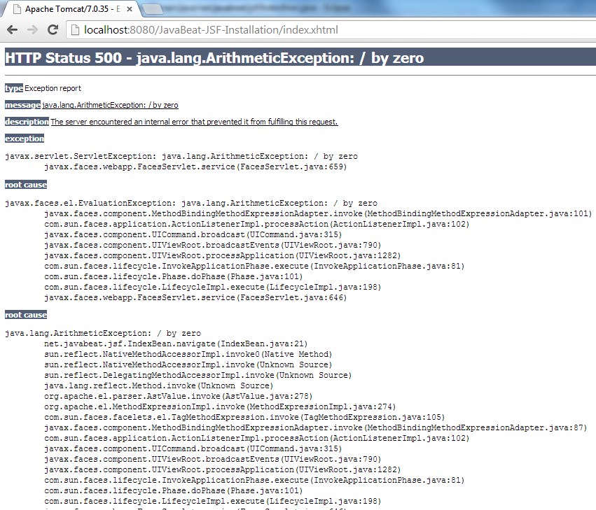 JSF 2 Error Page Example 3