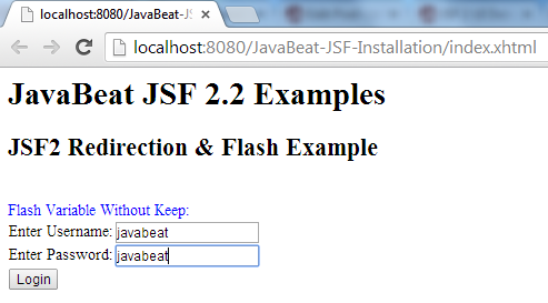 JSF 2 Flash Variable Example 1