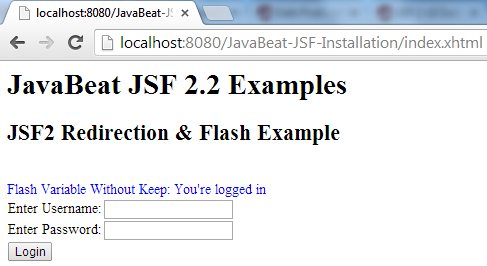 JSF 2 Flash Variable Example 2
