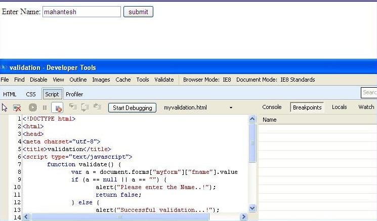 JavaScript Debug IE