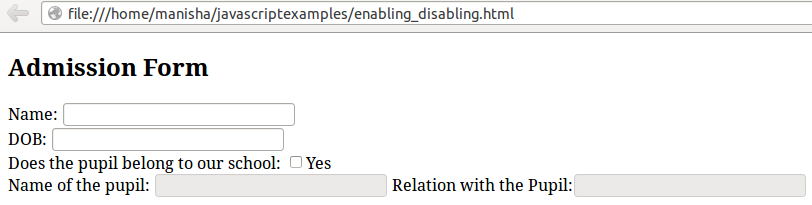 Enabling / Disabling Form Elements using JavaScript