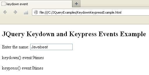 JQuery Keydown, Keypress, and Keyup Example