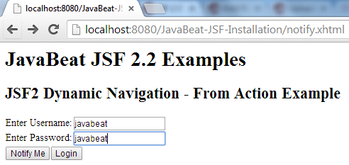 JSF 2 Dynamic Navigation From Action Example 1