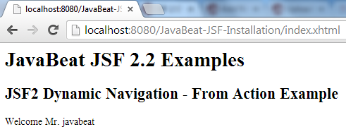JSF 2 Dynamic Navigation From Action Example 2