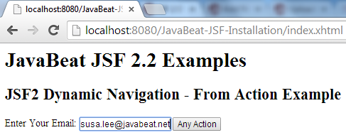 JSF 2 Dynamic Navigation From Action Example 3
