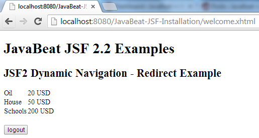 JSF 2 Redirection Navigation Example 3