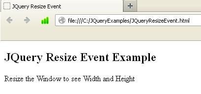 JQuery Resize Event Example