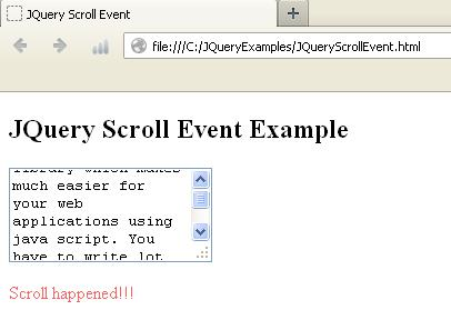 JQuery Scroll Event Example