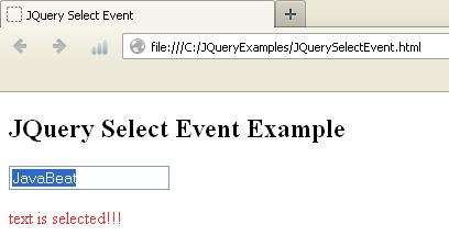 JQuery Select Event Example