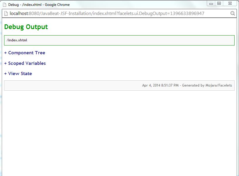 JSF 2 UI Debug Example 1