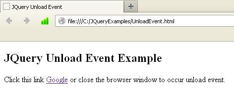 JQuery Unload Event Example