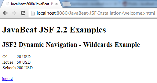 JSF 2 Wildacrds Navigation Example 4