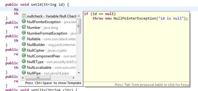 Eclipse Custom Code Template 3