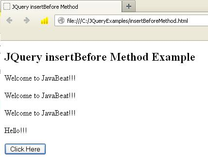 JQuery Insert Before Method Example