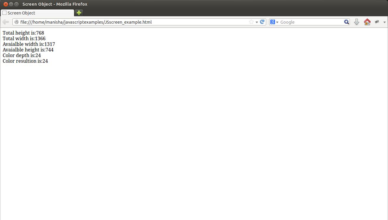 Javascript Screen Object