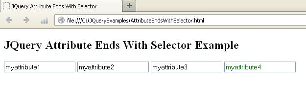 JQuery Attribute Ends With Selector