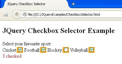 JQuery Checkbox Selector Example