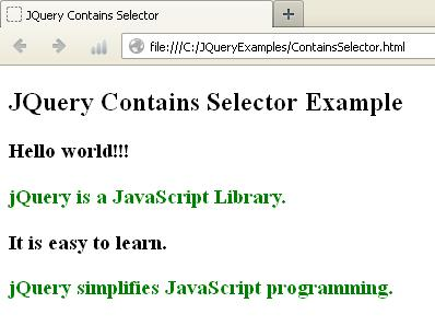 JQuery Contains() Selector Example
