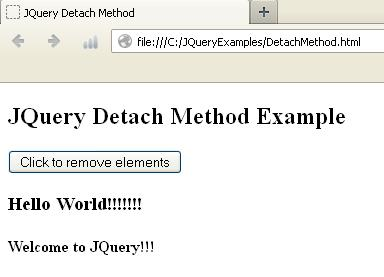 JQuery : Difference Between detach(), hide() And remove