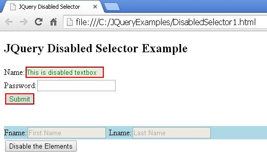 JQuery Disabled Selector Example