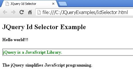 JQuery Id Selector Example