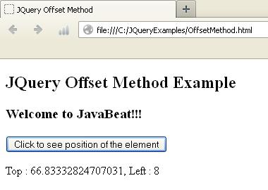 JQuery Offset Method