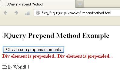 JQuery Prepend Method Example