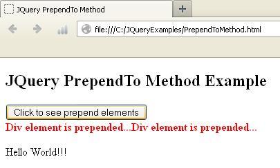 JQuery PrependTo Method Example