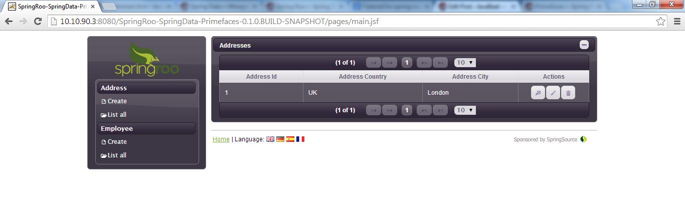 Primefaces Deployable App - List Address