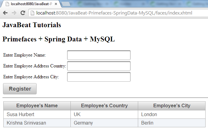 Primefaces Spring Data Registered Employee