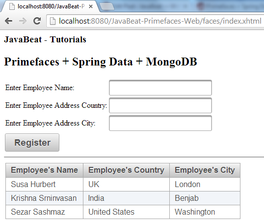MongoDB + PrimeFaces  RegisterEmployees