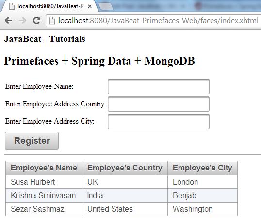 MongoDB + PrimeFaces  RegisterEmployees