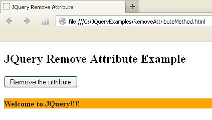 JQuery Remove Attribute Method Example