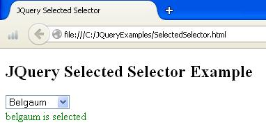 JQuery Selected Selector Example