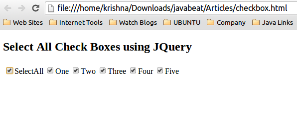 How To Select All CheckBoxes using JQuery
