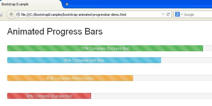 Bootstrap Animated Progress Bars Example