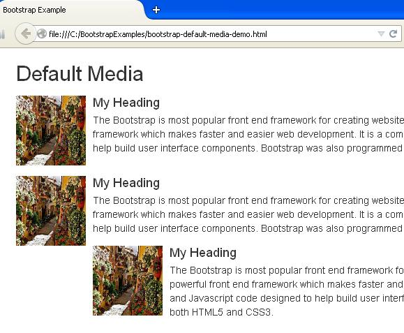 Bootstrap Default Media Example