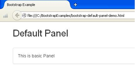 Bootstrap Default Panel Example