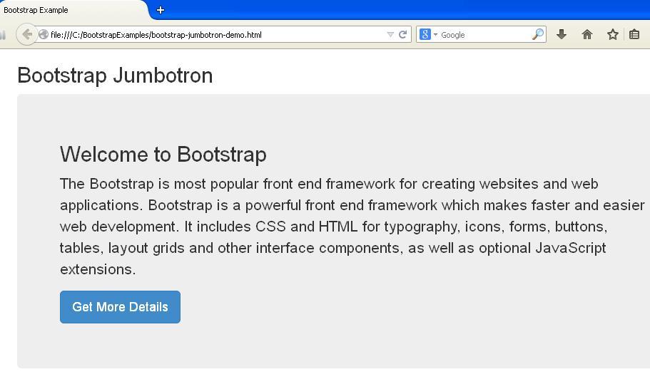 Bootstrap Jumbotron Demo Example