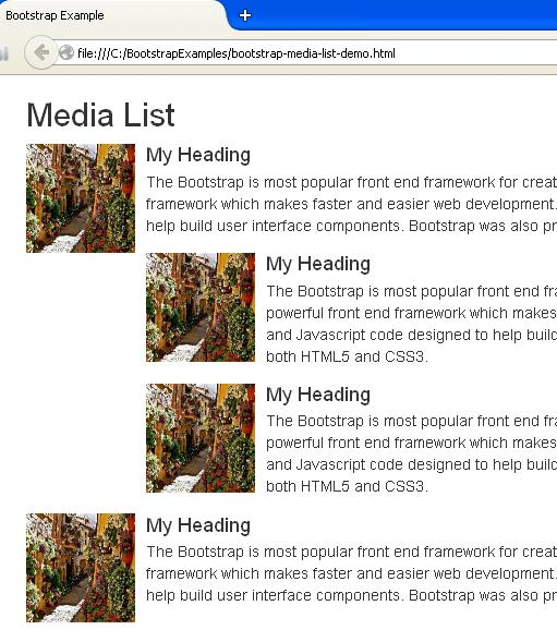 Bootstrap Media List Example