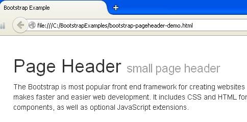 Bootstrap Page Header Example