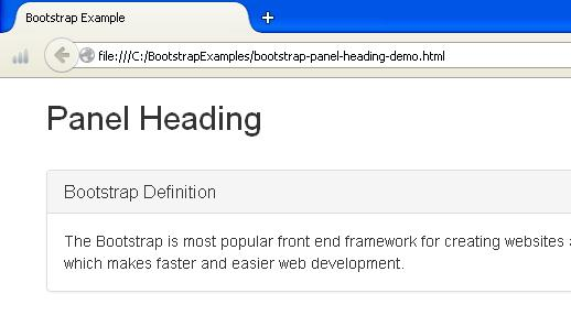 Bootstrap Panel Heading Example