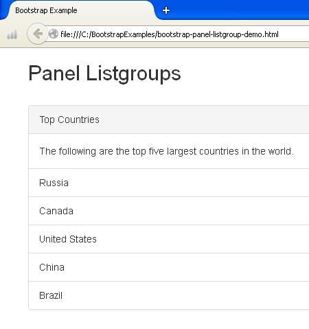 Bootstrap Panel Listgroups Example