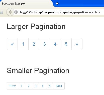 Bootstrap Sizing Pagination Example - JavaBeat
