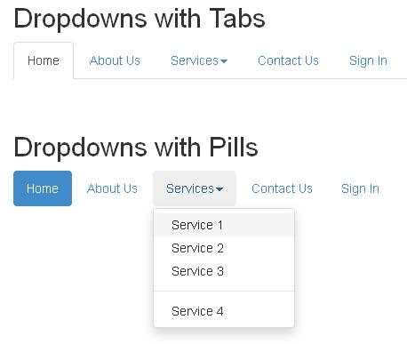 Bootstrap Dropdowns Picture