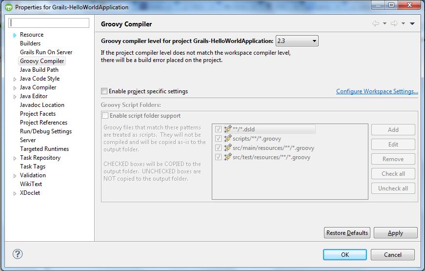 Grails - Configure Workspace Settings
