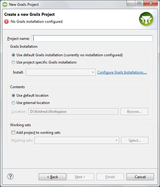 Grails - Create Project - Configure Grails Installation