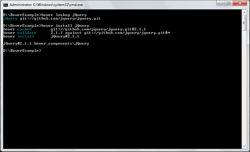 Bower Installing jQuery