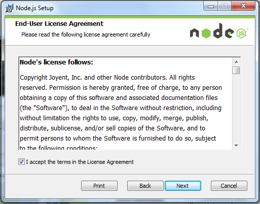 Node - Accept Agreement